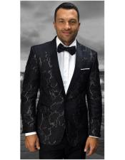 Mens Statement Confidence Shawl Lapel Black With Gold Tapestry Print Modern Fit Dinner Jacket
