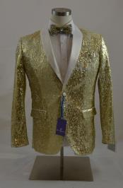 Mens Gold/White Single Breasted 2 Button Shawl Lapel Sequins Shiny Sport
