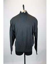 Gray Solid Pattern Silk Blend Mock Neck Sweater set Available in