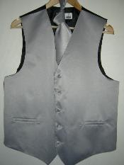 GRAY DRESS TUXEDO WEDDING VEST & TIE SET