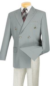 Double Breasted Blazer With Best Cut & Fabric Sport Jacket Coat Gray Grey