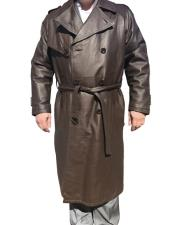 Dress Coat Real Genuine Leather Long Trench  Brown  Coat