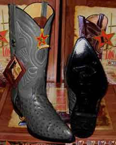 Altos Gray Genuine Full Quill Ostrich Western Cowboy Boot