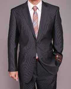 Mens Gray Micro-Stripe ~ Pinstripe 2-button cheap discounted Suit Cheap Suits