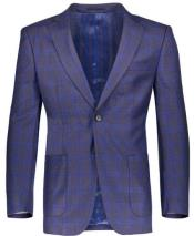 Slim Fit Plaid ~ Windowpane ~ Checker Mens Blazer Gray/Royal