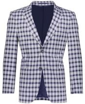 Slim Fit Gray/Royal Plaid ~ Windowpane ~ Checker Mens Blazer