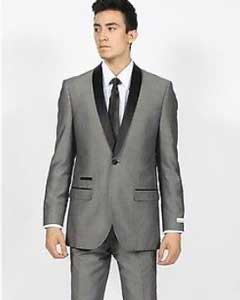 Mens Grey ~ Gray Shawl Collar Slim Fit Tuxedo Suit Black Lapel Blazer Sportcoat Dinner Jacket Looking