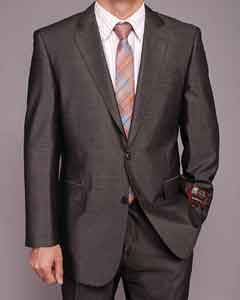 Dark Gray Shiny 2-button Suit