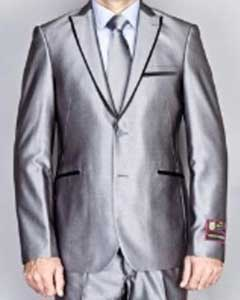 Shiny Gray 2 Button Euro Slim Fit Suit Includes Matching Shirt and Tie