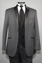 Button Charcoal Wool Tuxedo With Black Satin  Custom for Wedding