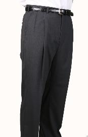Worsted Wool Gray Parker Pleated Pants Lined Trousers unhemmed unfinished bottom