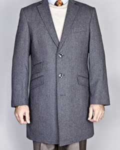 Three Quarters Length Mens Dress Coat Gray Herringbone  Long Jacket Overcoat