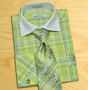 lime mint Green / White Check Design Shirt / Tie /