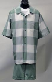 Mens Polyester Checked Pattern Short Sleeve Green Casual Two Piece Walking Outfit For Sale Pant Sets Suit