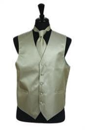 Horizontal Rib Pattern Vest Tie Set greenish color with some hint