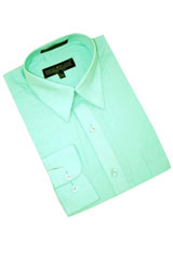 Green Cotton Blend Dress Shirt With Convertible Cuffs