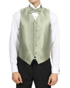 Mint ~ Sage Green Diamond Pattern 4-Piece Vest Set Also available