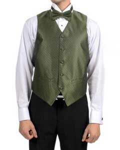 Olive Green Diamond Pattern 4-Piece Vest Set Also available in Big and Tall Sizes