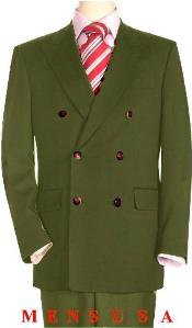 Quality Olive Green Mens Double Breasted Suits Jacket Blazer with Peak Lapels