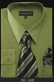 Mens Dark Lime Mint Pointed Collar Fashion Dress Shirt