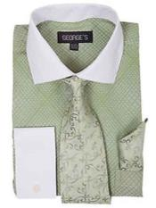 Apple Green Mens Mini Plaid/Checks French Cuff Dress Shirt With Tie And Handkerchief White Collar Two Toned Contrast