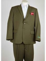 Single Breasted Notch Lapel 2 Button Olive Summer Suit