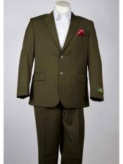 Olive 2 Button Single Breasted Notch Lapel Summer Suit