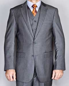 Grey ~ Gray Stripe ~ Chalk Pinstripe 2Button Vested Suit 3