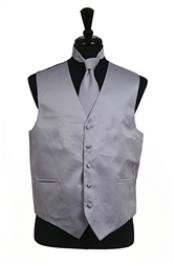 Tuxedo Wedding Vest Tie Set Grey