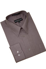 Charcoal Grey Cotton Blend Dress Shirt With Convertible Cuffs