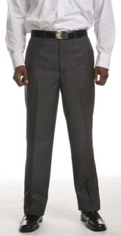Grey Flat-Front Dress Pants