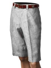 Mens Pleated Grey Inserch/Merc Flat Front Shorts 100% Linen