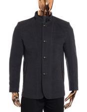 Mens Grey Button Up Closure Mandarin Collar Long Wool Coat