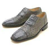Grey Croc/Ostrich Authentic Genuine Skin Italian Lace Up Oxford Dress Shoe