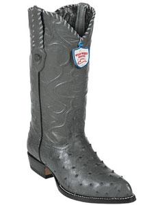 West Grey ~ GrayFull Quill Ostrich Cowboy Boots