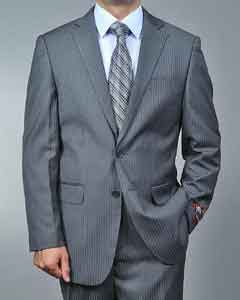 Grey Tonal Shadow Stripe ~ Pinstripe 2-button Suit