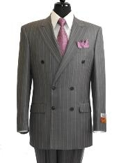 Mens Grey ~ Grey Stripe / Pinstripe Double Breasted Suit rayon Fabric