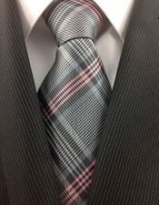 Necktie Woven Grey Silver and Pink
