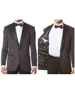 Grey 1 Button Velvet ~ Black Lapel Shawl Collar Dinner Jacket