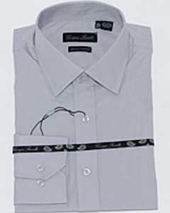 Slim-Fit Solid Grey Mens Dress Shirt