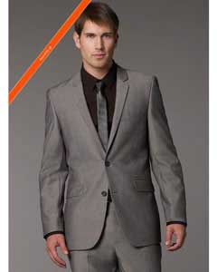 2 Button Modern Fitted Grey Tonic Pattern Cheap Priced Business Suits