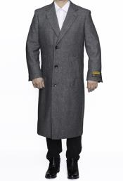Grey Herringbone Full Length Wool Dress Coat
