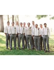 casual groomsmen attire any color Shirt + Pants + suspender Call
