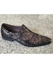 Brand Mens Man Made Foil Floral Pattern Gunmetal