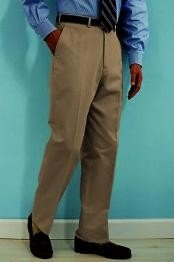 Tan ~ Beige premier quality italian fabric Flat Front Mens Wool Dress Pants Hand Made Relax Fit