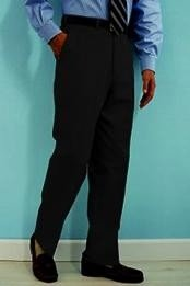 Black premier quality italian fabric Flat Front Mens Wool Dress Pants Hand Made Relax Fit - Cheap