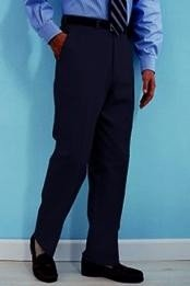 Navy premier quality italian fabric Flat Front Mens Wool Dress Pants Hand Made Relax Fit - Cheap