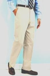 PA-100 Snow White Mens White Dress Pants Hand Made Relax Fit