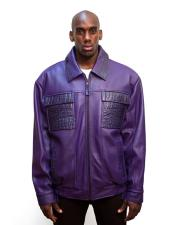 G-Gator Mens Purple Zip Closure Leather Jacket with World Best Alligator