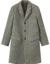 Grey Tweed Wool full length Overcoat